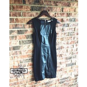 {NY&CO.} Black Faux Leather Bodycon Work Dress